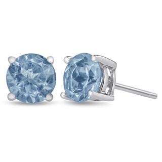 2 Carat Round Blue Topaz Earrings in Sterling Silver