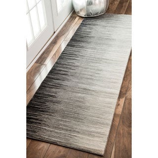 nuLOOM Geometric Abstract Sripes Fancy Black Runner Rug (2'8 x 8')