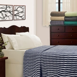 Superior All-Season Luxurious 100% Cotton Stripe Blankets
