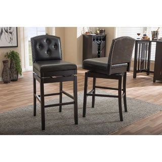 Baxton Studio Ginaro Modern and Contemporary Dark Brown Faux Leather Button-tufted Upholstered Swivel Bar Stool Set of 2