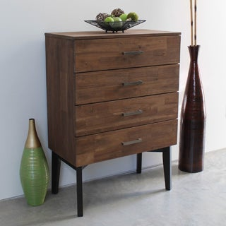 International Caravan Lugano Four-drawer Solid Acacia Hardwood Mid-century Style Chest