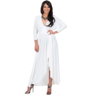 KOH KOH Women's Designer Long Sleeve Asymmetrical Drape Split Cocktail Maxi Dress