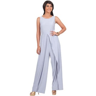 KOH KOH Women's Sleeveless Round Neckline Slimming Flared One-piece Pantsuit with Side Slits