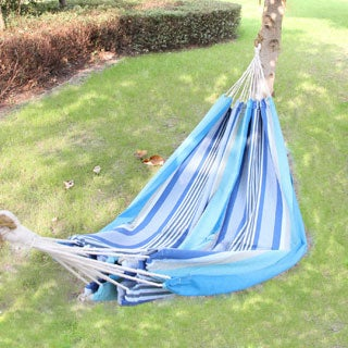 Adeco Cotton Fabric Canvas Hammock Tree Hanging Suspended Outdoor Indoor Bed