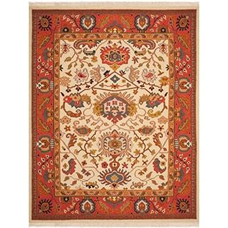 Safavieh Hand-woven Sumak Ivory/ Rust Wool Rug (6' x 9')