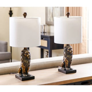 Abbyson Living Gold Lion Accent Table Lamp (Set of 2)