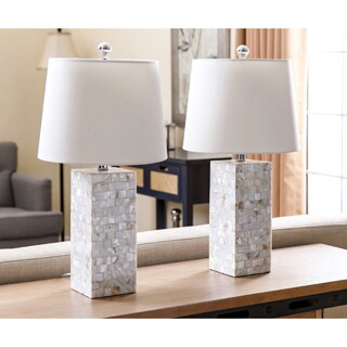 Abbyson Living Mother of Pearl Square Table Lamp (Set of 2)