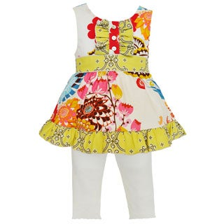 Ann Loren Boutique Girl's Floral and Lattice Tunic with Leggings Set