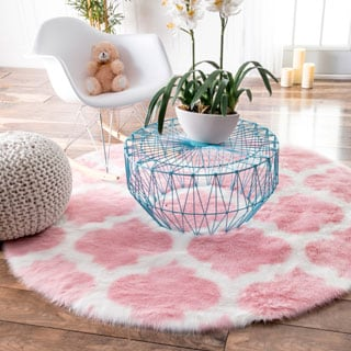 nuLOOM Cozy Soft and Plush Faux Sheepskin Tellis Shag Kids Nursery Pink Rug (5' Round)