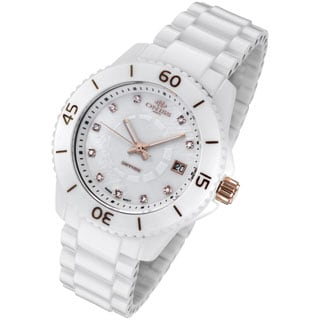 Oniss Womens Rose Gold Trim Diamond Accent Marker White Ceramic Watch