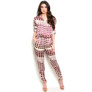 Shop the Trends Women's Silky Houndstooth Jumpsuit with Button Down Front and Elastic Waist