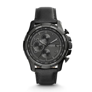 Fossil Men's FS5133 Dean Chronograph Black Dial Black Leather Watch