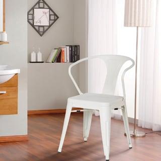 Adeco Cream White Metal Chair (Set of 2)