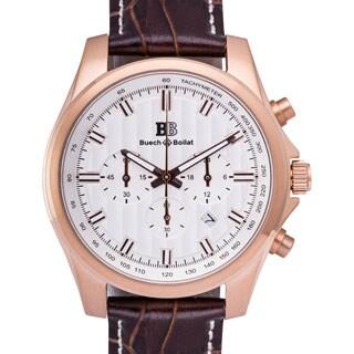 Buech & Boilat Grand Boucle Quartz Men's Chronograph Watch 20 mm Genuine Leather Strap