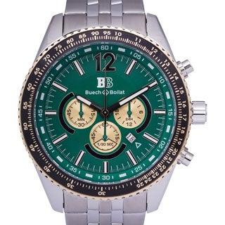 Buech & Boilat Torino Men's Quartz Chronograph Stainless Steel Watch with Multi-link Bracelet