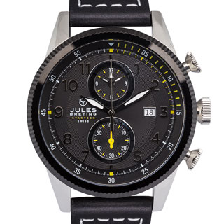 Jules Breting Adama Swiss Chronograph Men's Quartz 22mm Genuine Leather Strap Watch