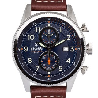 Jules Breting Adama Stainless Steel Men's Swiss Chronograph Blue Dial Watch