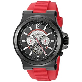 Michael Kors Men's MK9020 Dylan Automatic Black Dial Red Silicone Watch