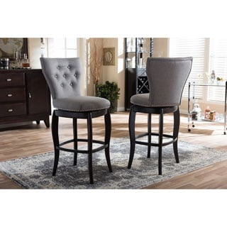 Baxton Studio Leonice Modern and Contemporary Grey Fabric Upholstered Button-tufted 29-Inch Swivel Barstool Set of 2