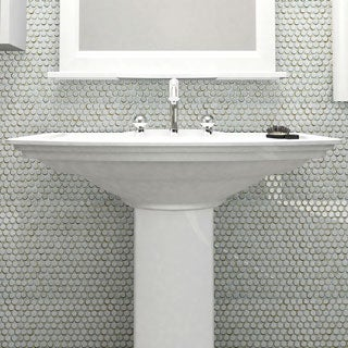 SomerTile 12x12.25-inch Penny Silk White Porcelain Mosaic Floor and Wall Tile (Case of 10)