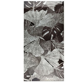 SomerTile 11.75x23.75-inch Fossilis Panorama Gingko Silver Glass Wall Tile