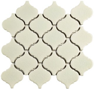 SomerTile 9.75x10.25-inch Victorian Morocco Crackle White Ceramic Mosaic Floor and Wall Tile (Case of 10)