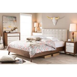 Baxton Studio Alinia Mid-century Retro Modern Light Beige Fabric Upholstered Walnut Wood Full or Queen Size Platform Bed