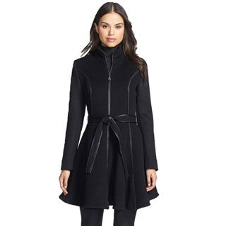 DL2 by Dawn Levy Fergie Black Wool Skirted Belted Coat