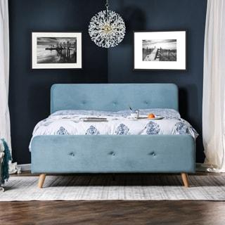 Furniture of America Celene Mid-century Modern Tufted Flannelette Full-size Bed