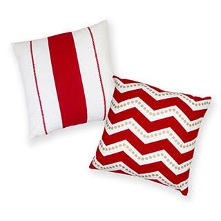 Nautical Stripe Cotton Decorative 18-inch Throw Pillows (Set of 2)