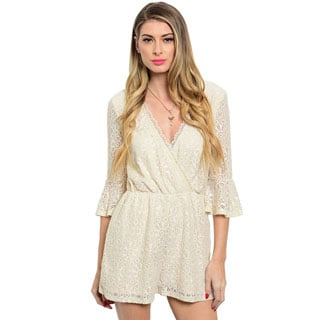 Shop the Trends Women's 3/4 Sleeve Wrap Front V-Neck Lace Romper with Scalloped Lace Trim