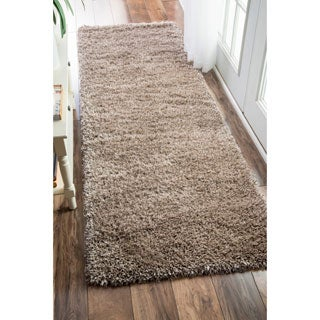 nuLOOM Soft and Plush Solid Thick Shag Taupe Runner Rug (2'6 x 8')