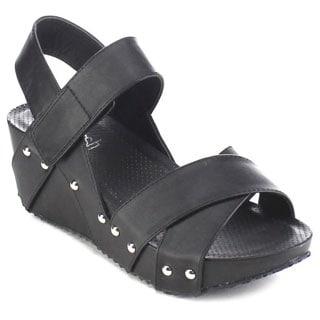Beston AA99 Women's Crisscross Platform Studded Sandals