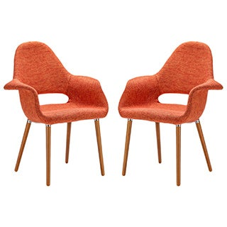 The Barclay Organic Style Dining Arm Chair in Orange (Set of 2)
