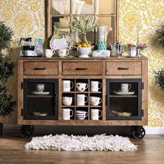 Furniture of America Matthias Industrial Rustic Pine Mobile Dining Buffet/Server