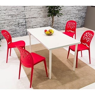 Somette Red Teardrop Dining Chair (Set of 4)