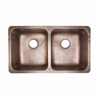 Sinkology Rivera Luxury Series Antique Copper Undermount Solid Copper Double Bowl Kitchen Sink