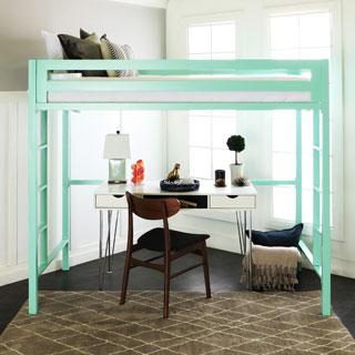 Twin Metal Loft Bed - Mint