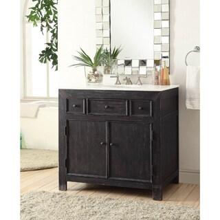 Somette Black 36 inch 2-Drawer Drop-In Vanity Sink