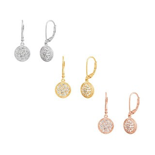Sterling Silver, 14k Yellow Gold Plated or 14k Rose Gold Plated Round Created White Sapphire Leverback Dangle Earrings