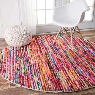 nuLOOM Handmade Modern Pebbled Stripes Multi Rug (6' Round)