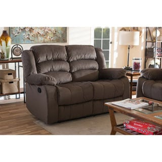 Baxton Studio Panos Modern and Contemporary Taupe Microsuede 2-Seater Recliner