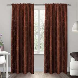 ATI Home Como Embroidered Rod Pocket Window Curtain 84 - 96-inch Length Panel Pair