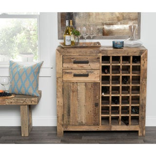 Kosas Home Hand-crafted Oscar Natural Recovered Shipping Pallets Wine Cabinet