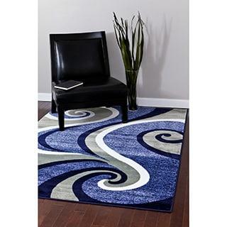 Modern Trendz Collection Dark Blue Swirl Rug (7'10 x 10'6)