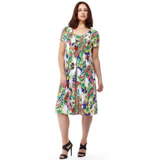 La Cera Women's Short Sleeve Printed Dress
