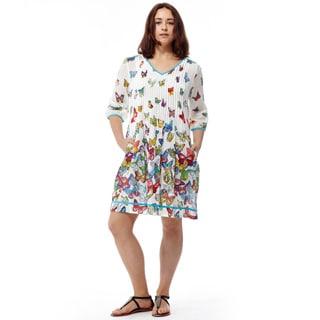 La Cera Women's 3/4 Pleated Front Dress