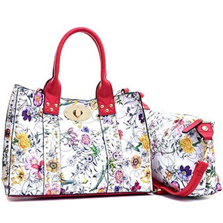 Dasein Floral Print Faux Leather Studded 2-in-1 Tote Bag