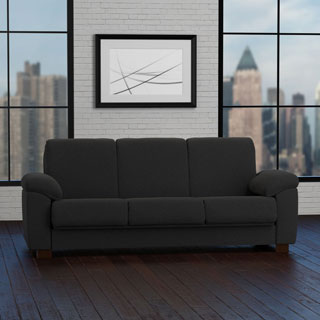 Portfolio Wrangler Convert-a-Couch Black Pebbles Futon Sleeper Sofa