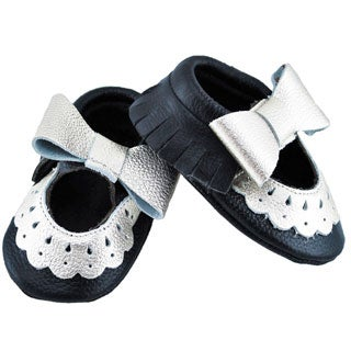 Genuine Leather Black Mary Jane Baby/ Toddler Moccasin 12-18 Month Shoes